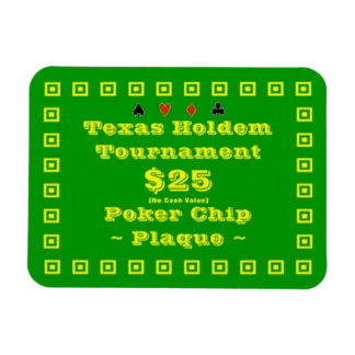 3x4 Texas Holdem Poker Chip Plaque $25 Rectangular Photo Magnet