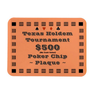 3x4 Texas Holdem Poker Chip Plaque $500 Rectangular Photo Magnet