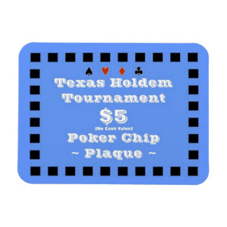 3x4 Texas Holdem Poker Chip Plaque $5 Vinyl Magnets