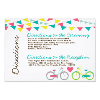 3x5 Directions Card Lovers Bike Bicycle Carnival 9 Cm X 13 Cm Invitation Card