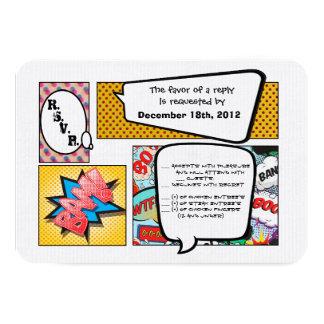 3x5 R.S.V.P. Reply Card Comic Strip Book Pop Art 9 Cm X 13 Cm Invitation Card