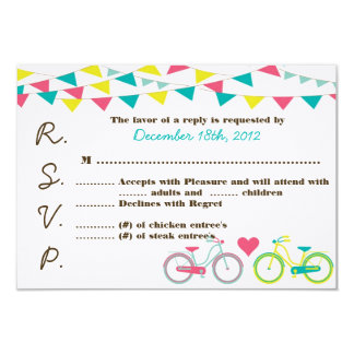 3x5 R.S.V.P. Reply Card Lovers Bike Bicycle Carniv 9 Cm X 13 Cm Invitation Card