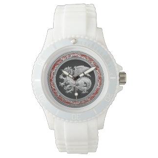 [400] Icelandic Dragon, Landvættir [Silver] Wrist Watch