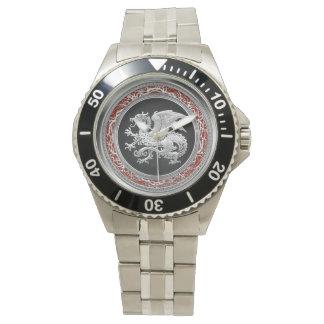 [400] Icelandic Dragon, Landvættir [Silver] Wristwatch