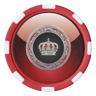 [400] Prince-Princess King-Queen Crown [Silver] Poker Chips Set
