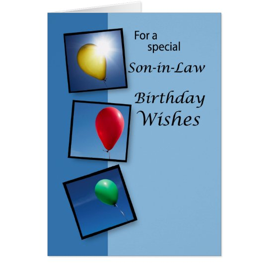 4087 Son-in-Law Birthday Wishes, Balloons Card