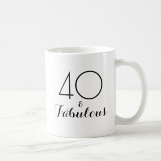 40 and Fabulous 40th Birthday Gift Mug Black