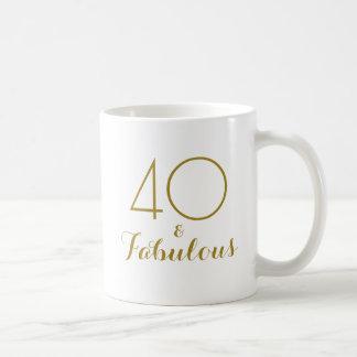 40 and Fabulous 40th Birthday Gift Mug Gold