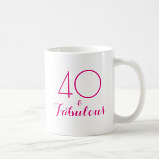40 and Fabulous 40th Birthday Gift Mug Pink