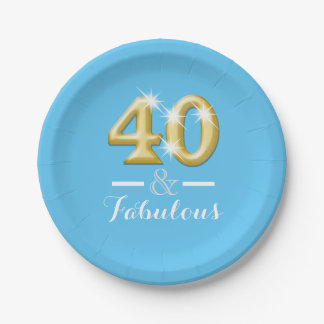 40 and fabulous birthday blue paper plate