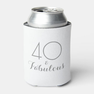 40 and Fabulous Birthday Gift Can Cooler Gray