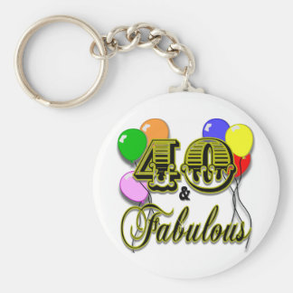 40 and Fabulous Birthday Gifts and Apparel Basic Round Button Key Ring