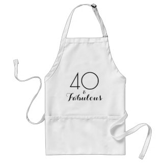 40 and Fabulous Black Typography Standard Apron