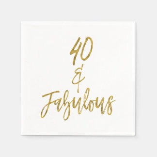 40 and Fabulous Gold Foil Birthday Napkins Disposable Napkins
