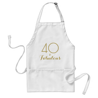 40 and Fabulous Gold Text Birthday Standard Apron