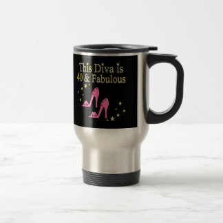 40 AND FABULOUS PINK SHOE QUEEN DESIGN TRAVEL MUG