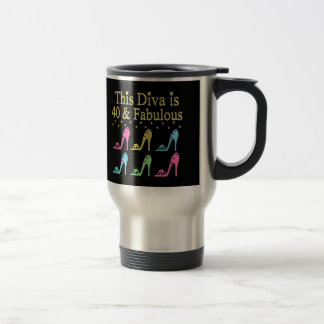 40 AND FABULOUS SHOE QUEEN DESIGN TRAVEL MUG