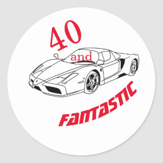 40 and Fantastic | Typography 40th Birthday Classic Round Sticker
