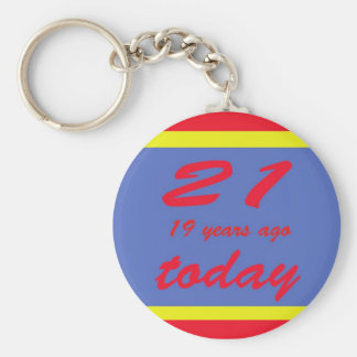40 birthday basic round button key ring