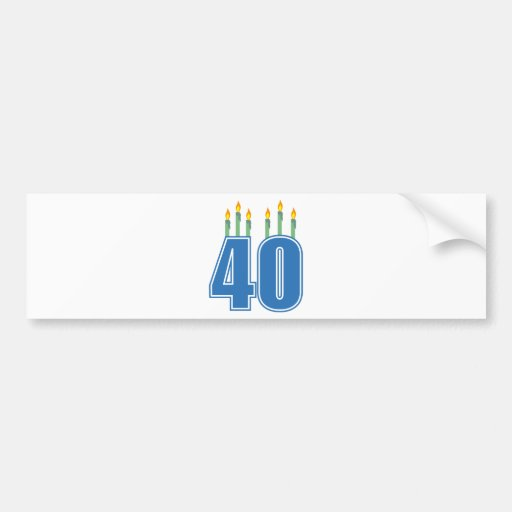 40 Birthday Candles (Blue / Green) Bumper Stickers