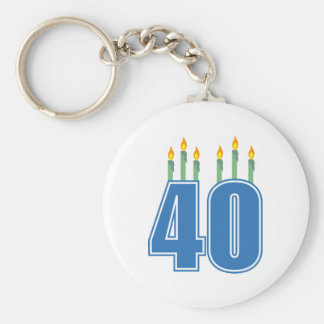 40 Birthday Candles (Blue / Green) Keychain