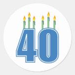 40 Birthday Candles (Blue / Green) Round Stickers