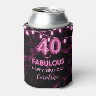 40 & Fabulous Birthday Pink & Black Balloon Lights Can Cooler
