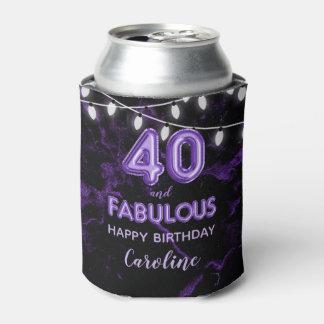 40 & Fabulous Birthday Purple Black Balloon Lights Can Cooler