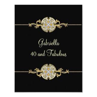 40 & Fabulous Black Gold Jewel Trim Birthday Card