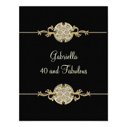 40 & Fabulous Black Gold Jewel Trim Birthday Custom Announcements