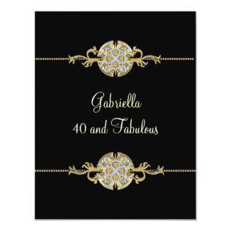 40 & Fabulous Black Gold Jewel Trim Birthday 11 Cm X 14 Cm Invitation Card
