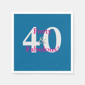40 & Fabulous! Fun Custom Birthday Blue & Hot Pink Disposable Napkin