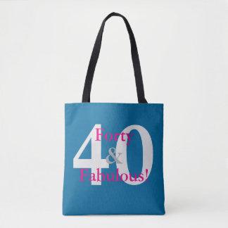 40 & Fabulous! Fun Custom Birthday Blue & Hot Pink Tote Bag