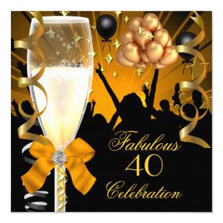 40 & Fabulous Gold Black Birthday Champagne 13 Cm X 13 Cm Square Invitation Card