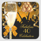 40 & Fabulous Gold Black Birthday Champagne Square Sticker