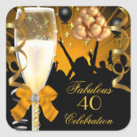 40 & Fabulous Gold Black Birthday Champagne Square Stickers
