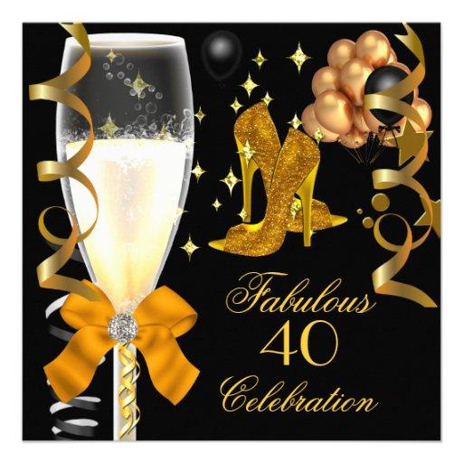 40 & Fabulous Gold Black Birthday Shoes Custom Announcement