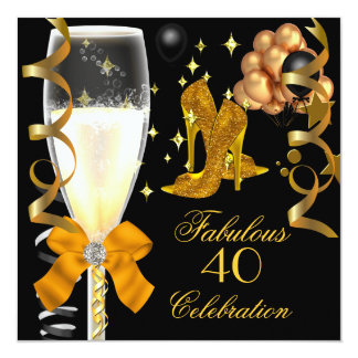 40 & Fabulous Gold Black Birthday Shoes 5.25x5.25 Square Paper Invitation Card