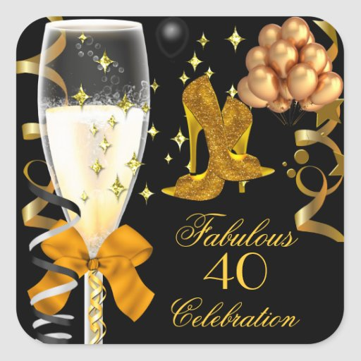 40 & Fabulous Gold Black Birthday Shoes Stickers