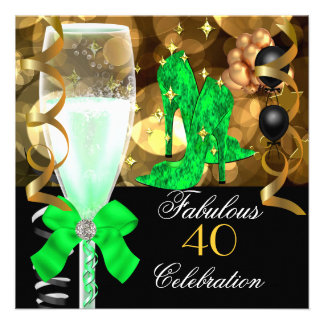 40 & Fabulous Lime Green Black Gold Birthday Party Personalized Announcements