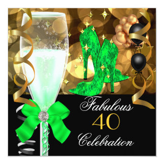 40 & Fabulous Lime Green Black Gold Birthday Party 5.25x5.25 Square Paper Invitation Card