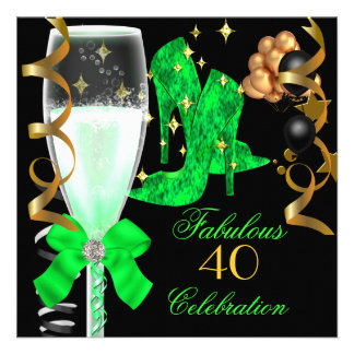 40 & Fabulous Lime Green Gold Birthday Shoes Custom Invites