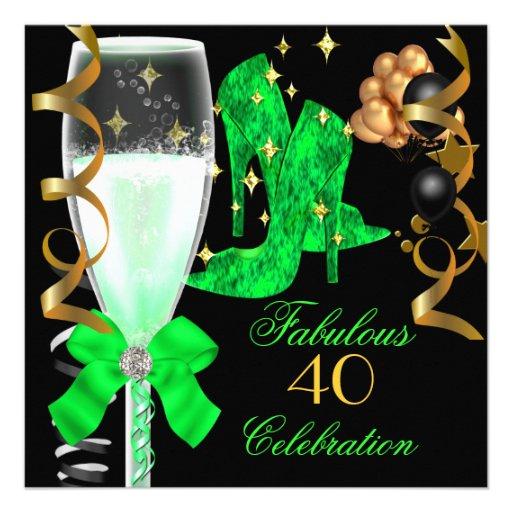 40 & Fabulous Lime Green Gold Birthday Shoes Custom Invites