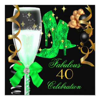 40 & Fabulous Lime Green Gold Birthday Shoes 5.25x5.25 Square Paper Invitation Card
