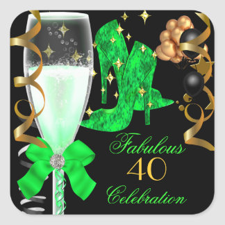 40 & Fabulous Lime Green Gold Birthday Shoes Square Sticker