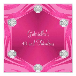 40 & Fabulous Pink Exotic Animal Jewel Birthday 13 Cm X 13 Cm Square Invitation Card