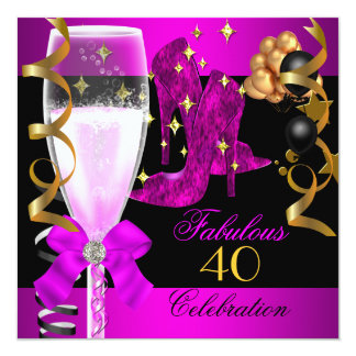 """40 Fabulous Pink Purple Gold 40th Birthday Party 5.25"""" Square Invitation Card"""