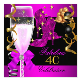 40 Fabulous Pink Purple Gold 40th Birthday Party 5.25x5.25 Square Paper Invitation Card