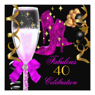 40 & Fabulous Pink Purple Gold Birthday Shoes 5.25x5.25 Square Paper Invitation Card