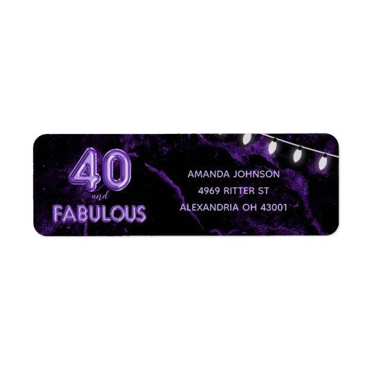 40 & Fabulous Purple & Black 40th Birthday Return Address Label